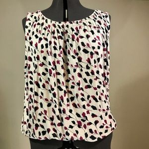EUC LOFT White, Black& Cranberry Sleeveless Blouse